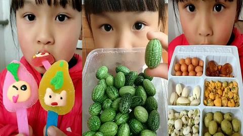 吃播小美女,吃小西瓜 水果软糖 坚果,吃起来真爽