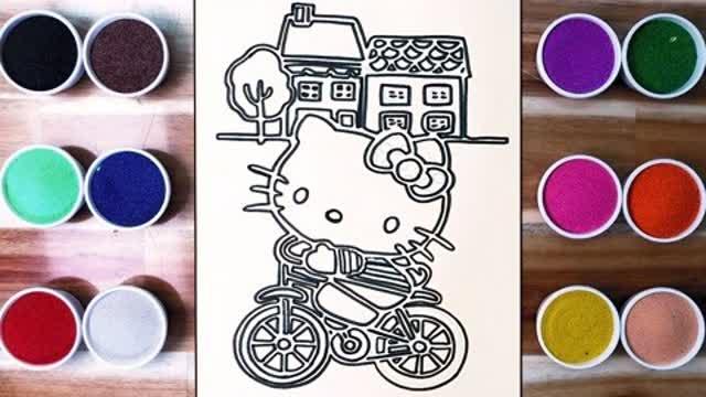 启蒙绘画:骑自行车的凯蒂猫真是太可爱了!