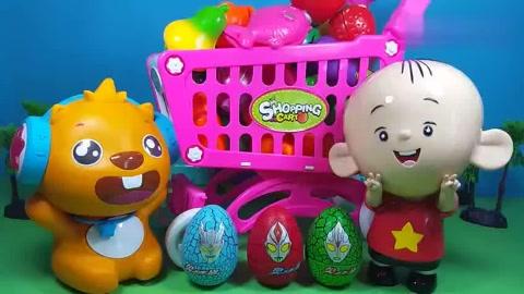 大耳朵图图超市采购奥特曼奇趣蛋惊喜蛋水果切切看贝瓦儿歌