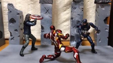 钢铁侠把美国队长压在地上打,冬日战士从背后偷袭他