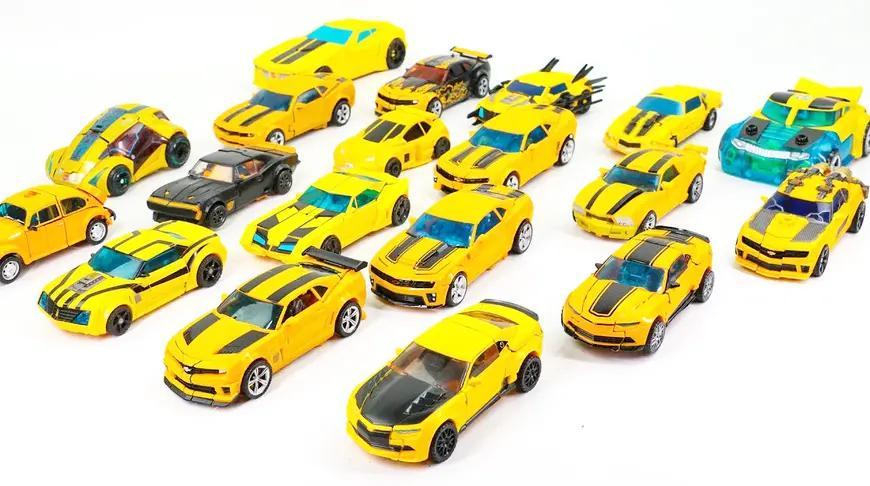 一起认识不同大小的大黄蜂机器人及变形展示