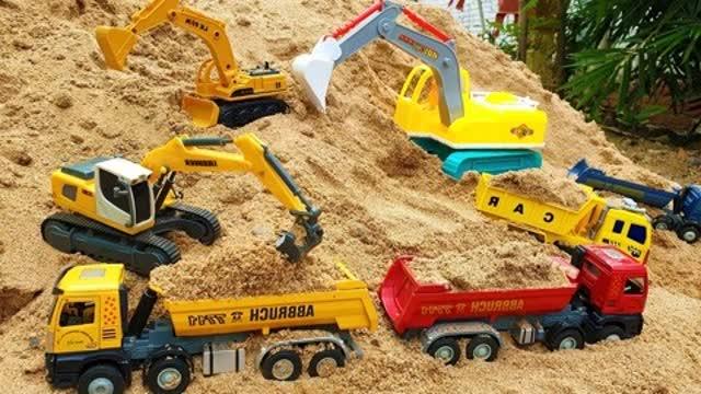 自卸车,挖掘机,起重机卡车帮助积木儿童玩具 - 儿童电视玩具